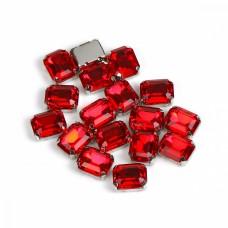 Стразы пришивные в цапах стекло TBY MS.30.R цв.красный 8х10 мм, уп. 50шт