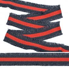 Тесьма TBY с бахромой TBYF06 шир.30мм цв.красный/т.синий уп.13,71м