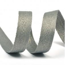 Тесьма киперная металлизированная 13 мм 90370 цв.серый с золотом уп.50м