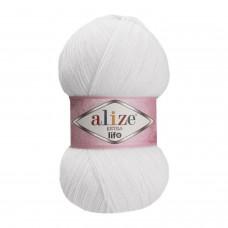 Пряжа для вязания Ализе Extra Life (100% акрил) 5х100г/480м цв.911 белый
