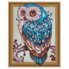Картина 3D мозаика с нанесенной рамкой Molly KM0767 Мудрая сова (30 цветов) 40х50 см