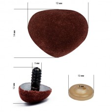 Носик винтовой бархатный TBY 18х14мм цв.коричневый, уп.50шт