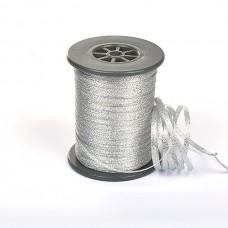 Подарочная лента Парча с3299г17 шир.4-5мм цв.01 серебро уп.200м