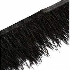 Перья на ленте Страус FBY-08-100 шир.8см цв.черный уп.2м