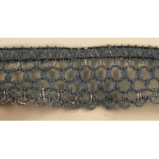 Тесьма-рюш паутинка TBX.#008В односторонняя на резинке шир.30мм цв.серый-золото уп.45,7м