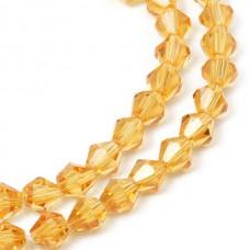 Бусины граненые Биконус(стекло) на нитях TBY-K-1  6х6мм отвер.1,5мм цв.33 св.желтый уп.1х50 бусин