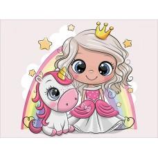 Алмазная вышивка Принцесса и единорожек LE105 30х40 тм Цветной