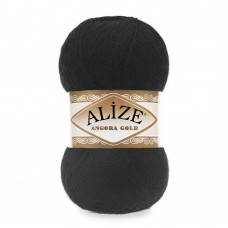 Пряжа для вязания Ализе Angora Gold (20% шерсть, 80% акрил) 5х100г/550м цв.060 черный