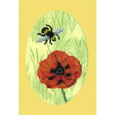 Набор для вышивания Вышивальная мозаика  106ОТ.Пчелка и мак 10х15см
