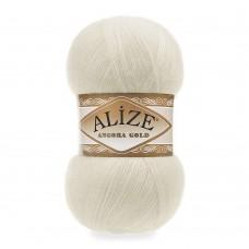 Пряжа для вязания Ализе Angora Gold (20% шерсть, 80% акрил) 5х100г/550м цв.001 кремовый