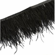 Перья на ленте Страус FBY-15-100 шир.15см цв.черный уп.2м