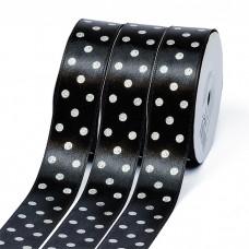 Лента атласная Ideal горошек серебро шир.25мм LDAS030 цв.черный уп.27,4м