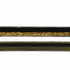 Лента бархатная TBY.LB10GLD.07 нейлон шир.10мм цв.черный-золото уп.30м