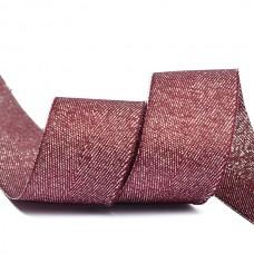 Тесьма киперная металлизированная 25 мм полиэстер TBYT15 цв.S021 красный уп.22,85м