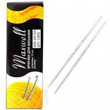 Крючки для вязания  ТВ-СН-01  Maxwell  №2/0-3/0  двусторон. цв.никель  упак.12шт.