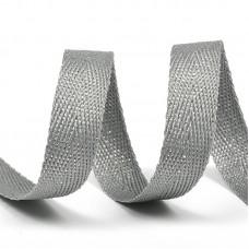 Тесьма киперная металлизированная 13 мм 90370 цв.серый с серебром уп.50м