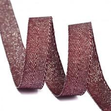 Тесьма киперная металлизированная 10 мм полиэстер TBYT04 цв.S021 красный уп.22,85м