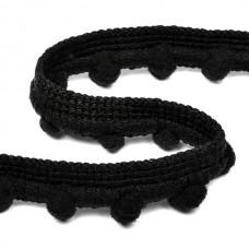 Тесьма с помпонами TBY-PP08 шир.15мм цв.F322 черный уп.8.23м