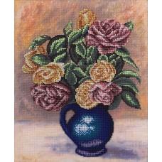 Набор для вышивания PANNA  Ц-1686 Розы в синей вазе 24х28 см