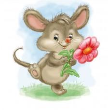 Картины по номерам Molly KH1017 Мышка с цветком 20х20 см