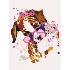 Картины по номерам Щенок в розовых очках ME1117 30х40 тм Цветной