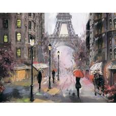 Алмазная вышивка Париж под дождем LG249 40х50 тм Цветной