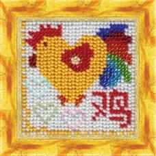 Набор для вышивания Вышивальная мозаика  215ЗД.Сердечный Петушок 6,5х6,5см