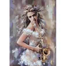 Картина по номерам с цветной схемой на холсте Molly KK0682 Саксофонистка 30х40 см