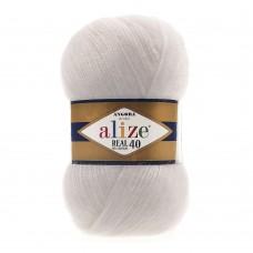 Пряжа для вязания Ализе Angora Real 40 (40% шерсть, 60% акрил) 5х100г/480м цв.599 слоновая кость