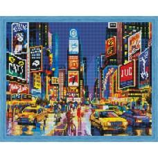 Алмазная вышивка Нью-Йорк в огнях рекламы QA202734 40х50 тм Цветной