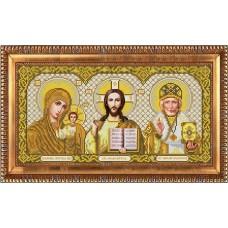 Рисунок на габардине бисером БЛАГОВЕСТ И-3003 Триптих в золоте 20х39 см