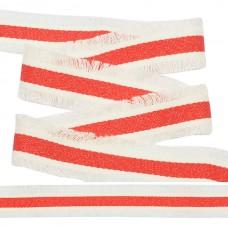 Тесьма TBY с бахромой TBYF09 шир.30мм цв.белый/красный уп.13,71м