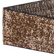 Тесьма с пайетками TBY на сетке  TDF15013 шир.150мм цв.черный+розовое золото уп.13,7м