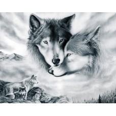 Алмазная мозаика на холсте ГРАННИ Ag410 Волчья любовь 48х38см