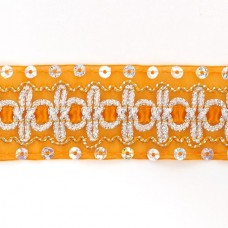 Тесьма с пайетками TBY TH182 шир.38мм цв.017 оранжевый уп.18,28м