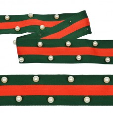 Тесьма-стропа TBY  Лампас с бусинами PB8 шир.40мм цв.зеленый/красный уп.13.71м
