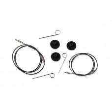 10520 Knit Pro Тросик (заглушки 2шт, ключик) для съемных укороченных спиц, длина 20см (готовая длина спиц 40см), черный