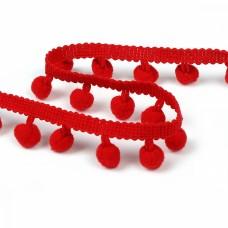 Тесьма с помпонами цв.F162 (026) красный TBY-LC-20 шир.15-20мм уп.10м