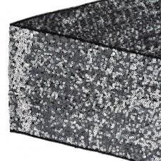 Тесьма с пайетками TBY на сетке  TDF15012 шир.150мм цв.черный+серебро уп.13,7м