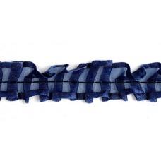 Тесьма рюш TBS-D капрон 2-стор. шир.25мм цв.220 т.синий уп.18,28м
