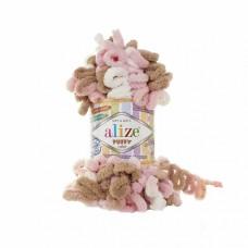 Пряжа для вязания Ализе Puffy color (100% микрополиэстер) 5х100г/9м цв.6046
