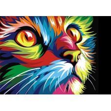 Алмазная мозаика на холсте ГРАННИ Ag478 Радужный кот 38х27см