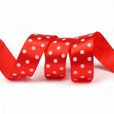 Лента атласная Ideal LDAG23502925 горошек 25мм цв.красный-белый уп.27,4м