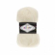 Пряжа для вязания Ализе Mohair classic NEW (25% мохер, 24% шерсть, 51% акрил) 5х100г/200м цв.001 кремовый