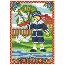 Набор для вышивания мулине НИТЕКС  0267  Мальчик с корабликом 21х30 см