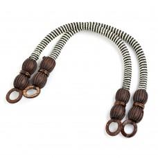 Ручка для сумки, МН-01952-2, вощен.шнур , длина 42см, цв.коричнево/белый, уп.2шт