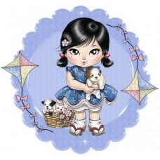 Картины по номерам Molly KH1020 Девочка со щенками 20х20 см