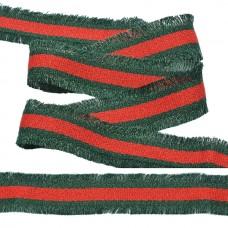 Тесьма TBY с бахромой TBYF07 шир.30мм цв.красный/т.зеленый уп.13,71м