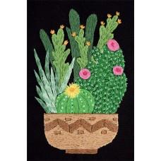 Набор для вышивания PANNA Живая картина  ЖК-2133 Кактусы в кашпо 12,5х17 см