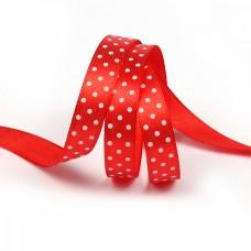 Лента атласная Ideal LDAG309502912 горошек 12мм цв.красный-белый уп.27,4м